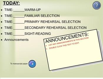 SMART Notebook Band Rehearsal Template
