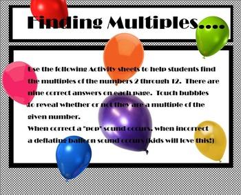 SMARTBoard Math - Multiples Bubble Pop