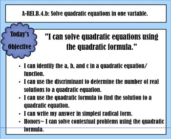 SMART Notes: Quadratic Formula with Real Solutions