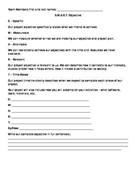 SMART Objective writing worksheet