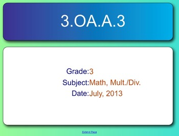 SMART Response Quiz, Common Core 3.OA.A.3, Multiplication and Division