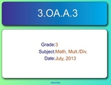 SMART Response Quiz, Common Core 3.OA.A.3, Multiplication
