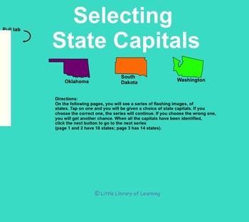 SMART Board Selecting of State Capitals