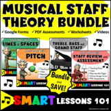Music Theory: STAFF Music Theory Bundle: Videos Music Worksheets & Assessment
