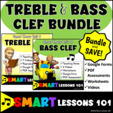 Music Theory: TREBLE CLEF Notes BASS CLEF NOTES Bundle Videos Worksheets Quizzes