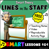 Music Theory: LINES ON THE STAFF Music Theory FREEBIE Video and Music Worksheet