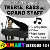 TREBLE BASS AND GRAND STAFF Music Theory Unit 3 with Videos and Worksheets