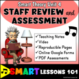 Music Theory: STAFF REVIEW Unit 4 Videos Music Worksheets and Assessments