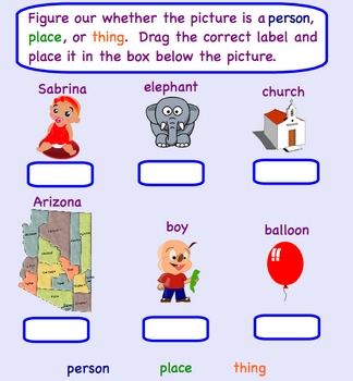 SMART board Noun Language Arts Lesson - (Smartboard noun Lesson)