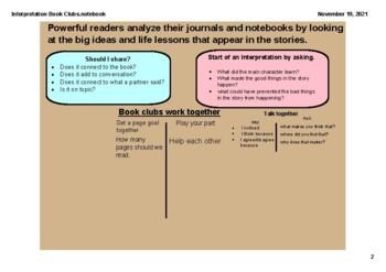SMARTBOARD Book Clubs (Fiction) Reader's Workshop