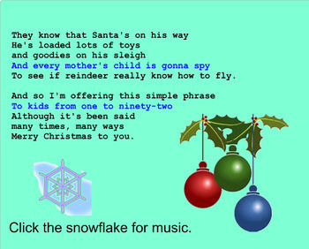 SMARTBOARD Figurative Language in Christmas Songs Activity