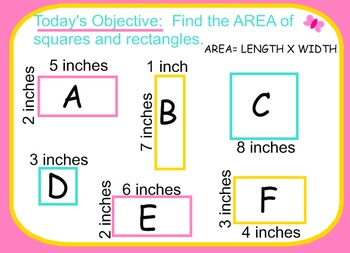 SMARTBOARD LESSON: Finding Area of Squares and Rectangles CCSS 4.MD.A.3
