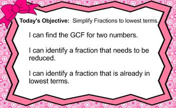 SMARTBOARD LESSON: SIMPLIFY FRACTIONS