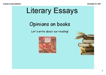 SMARTBOARD - Literary Essay (Opinion) Writer's Workshop