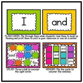 SMARTBOARD Sight Words and Interactive Mini-Games - Bundle #1 (Sets 1-10)