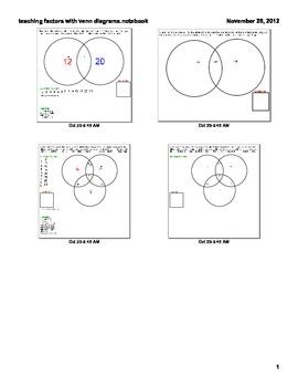 SMARTBOARD lesson on teaching factors with venn diagrams