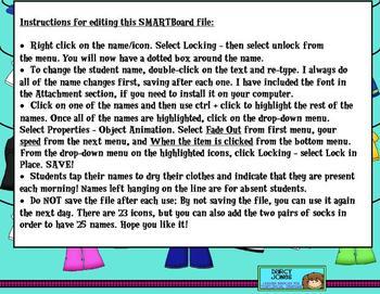 SMARTBoard Attendance - Clothesline