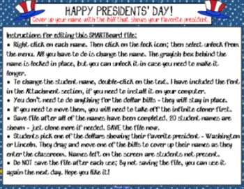 SMARTBoard Attendance - Presidents' Day Dollar Bills