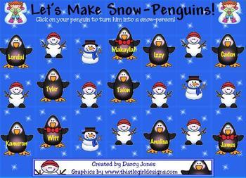 SMARTBoard Attendance - Snow Penguins