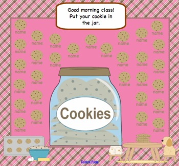 SMARTBoard Cookie Attendance for 30 students -Interactive Morning