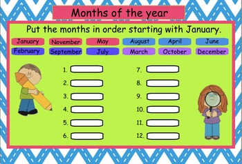 SMARTBoard Interactive Days of the Week and Months of the Year Practice