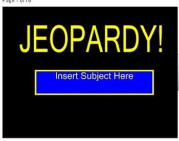SMARTBoard Literacy Term Jeopardy