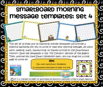 SMARTBoard Morning Message Templates Set 4