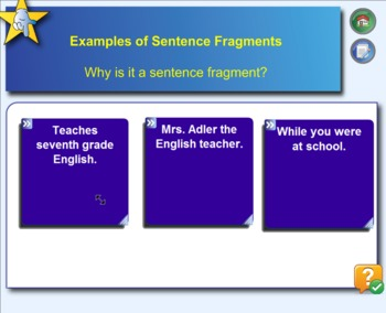 SMARTBoard Notebook Lesson Sentence Fragments and Run-ons