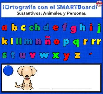 SMARTBoard Lesson - Spelling Spanish Nouns: Animals & People