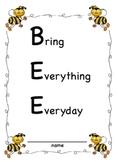 SMARTBoard Student Organizational Binder B.E.E. Bring Everything Everyday