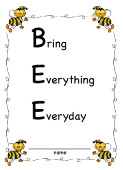 SMARTBoard Student Organizational Binder B.E.E. Bring Everything Everyday