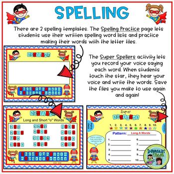 SMARTBoard Word Work Letter Tiles: Superhero Theme
