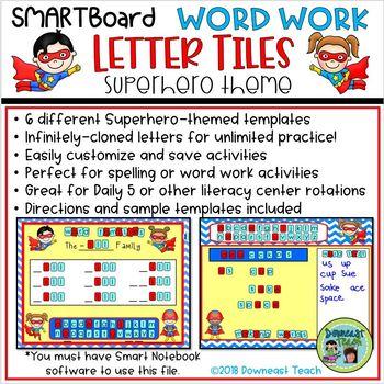 SMARTBoard Word Work Letter Tiles: Superhero Theme