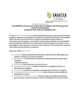 SMARTER Starter Guide for IEP Goals SPANISH Version