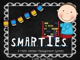 SMARTIES Math Workstations - Bright Blue with Pencils Theme