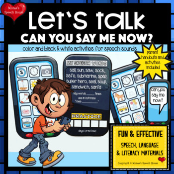 SMARTPHONE SPEECH THERAPY LOW PREP NO PREP worksheets articulation