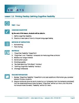 SMARTS Executive Function Curriculum. Lesson 2: What is Cognitive Flexibility?