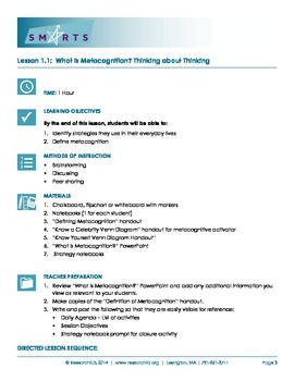 SMARTS Online Executive Function Curriculum - Lesson 1: What is Metacognition?