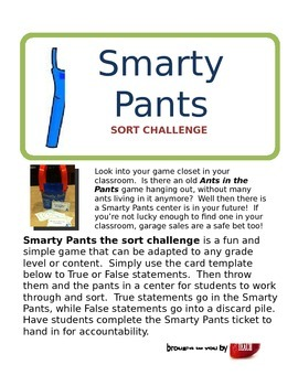 SMARTY PANTS Sort Challenge Center Game Geometry Sample an