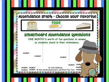 SMARTboard Attendance - 1 Month of Fun Questions for Student Favorites