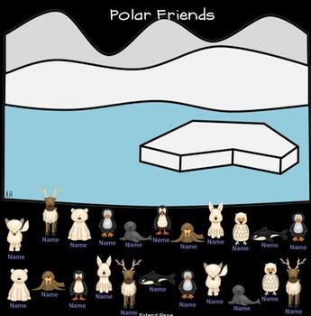 SMARTboard Attendance - Polar Animal Theme