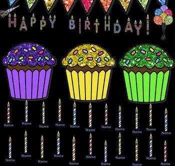 SMARTboard Attendance - Happy Birthday Theme