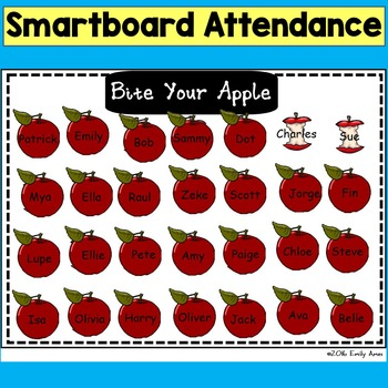 SMARTboard Attendance: Bite Your Apple(Smart board, Back to School)