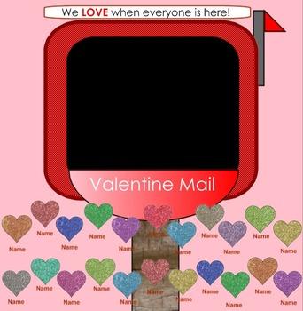 SMARTboard Attendance - Valentine Heart Theme