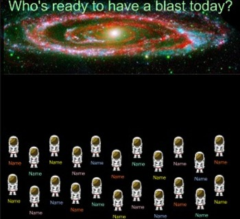 SMARTboard Attendance - Space or Astronaut Theme
