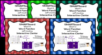 SMARTboard Combo Pack Word Families Picture Sorting/Writing Self-Checking Center