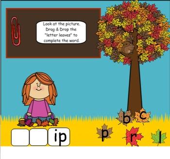 SMARTboard FALL Blends Fun!  (CCVC, blends, smart board)