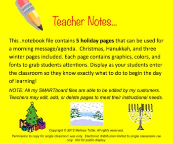 SMARTboard Holiday Christmas Winter Hanukkah Morning Message pages .notebook