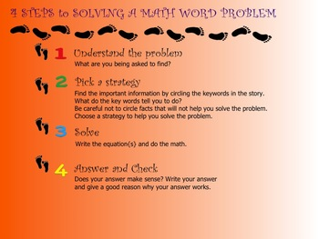 SMARTboard Lesson on Four Steps to Solving a Math Word Problem