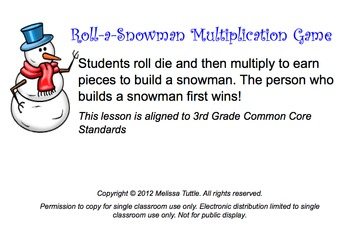 Smartboard Roll A Snowman Multiplication Game Printable Center
